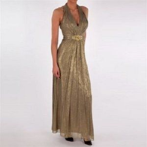 Cachet Gold Shirred Halter Evening Gown Size 6